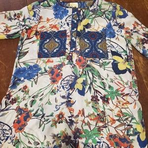 Anthrpologie fig&flowers floral  boho tunic